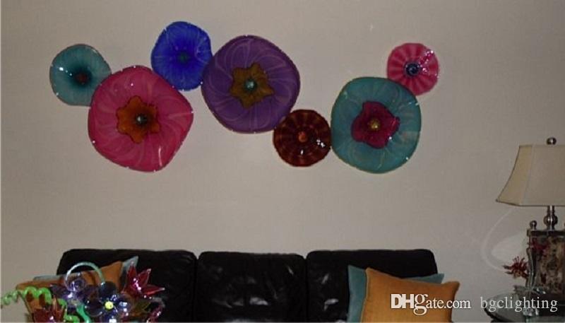 Las placas de Murano hecho a mano decorativo de cristal moderno vestíbulo del hotel llevado aplique de la pared del multicolor decorativo de cristal de Murano Hotel Wall Lighting