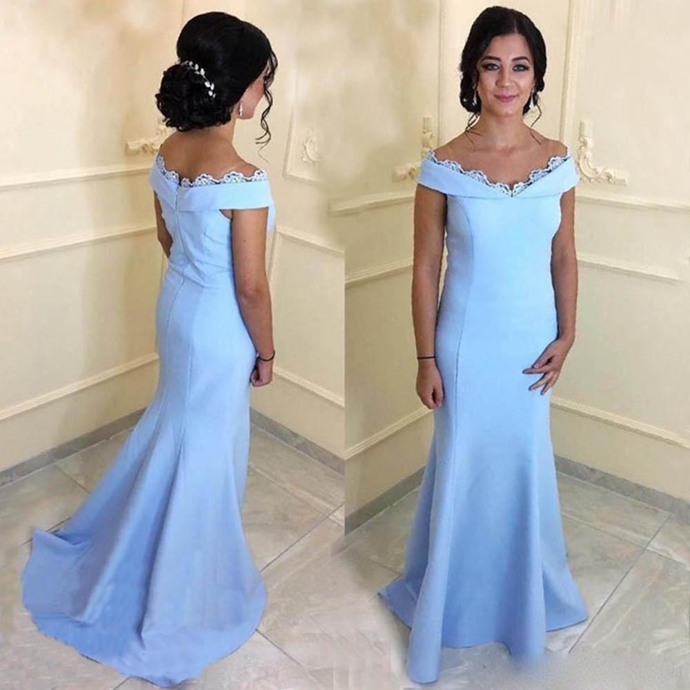 Elegante Satin Mermaid Mãe dos vestidos de noiva 2020 Off varredura ombro Lace Train Formal vestido de festa vestidos de noite