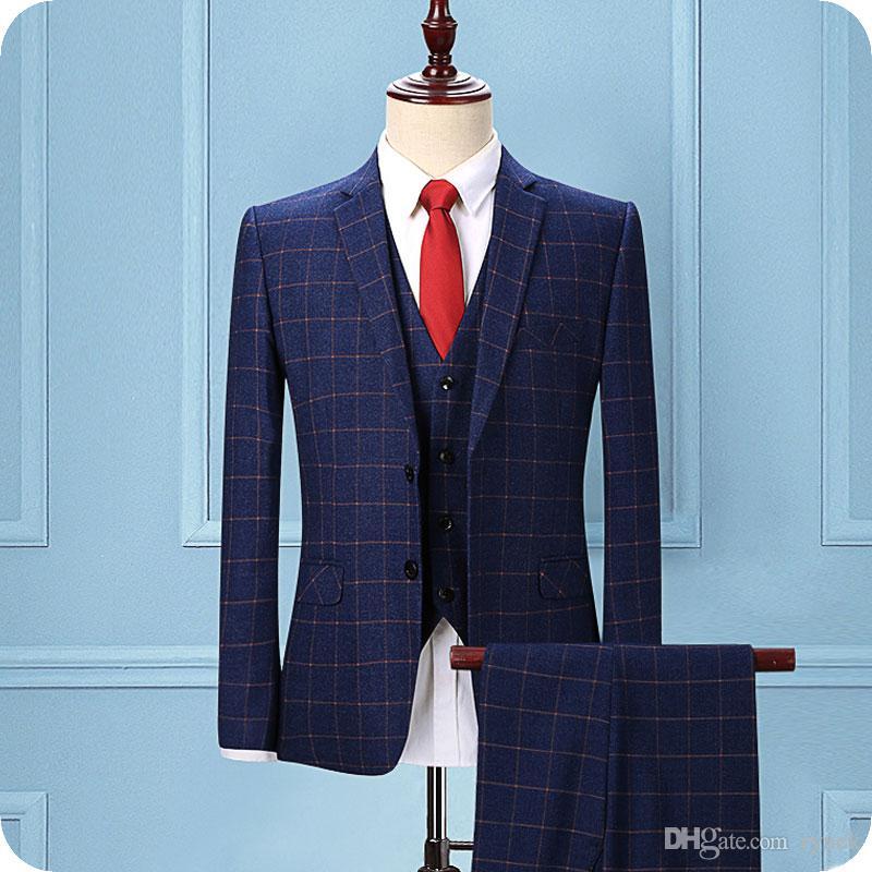 Custom Made Blue Grid Men Suits for Wedding Slim Fit Check Groom Tuxedos 3Piece (Coat+Pants+Vest) Groomsmen Wedding Suit Blazers Man Jacket