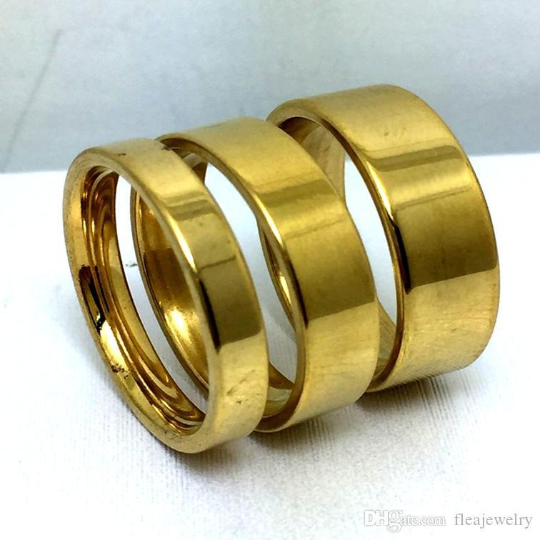 atacado 30pcs 4/6/8 mm banda Simple Gold 316L casamento Engagment anéis de aço inoxidável conforto anel de dedo de jóias