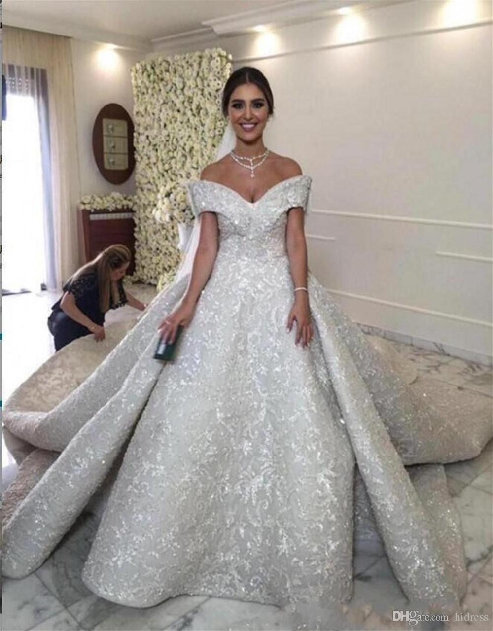 Großhandel Luxuriöses Hochzeitskleid Weg Von Der Schulter Ballkleid  Brautkleider Long Tail Brautkleid Brautkleid Ohne Schleppe Schatz Robe De  Mariée