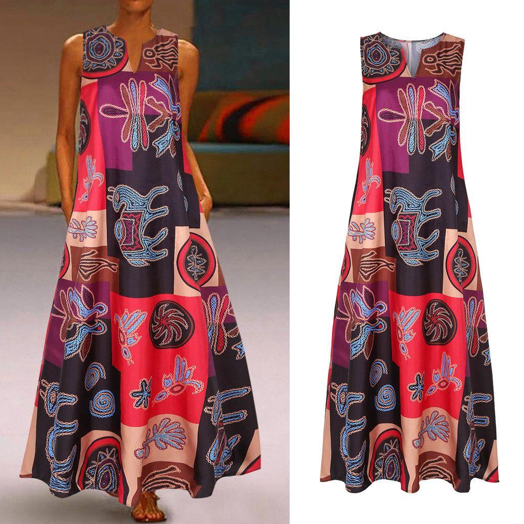 Февральфрост 2020 Женщины Винтаж Богемский Этнические печати V-Wee Weewway Press Повседневная без рукавов Maxi платье Streetwear Plus Размер