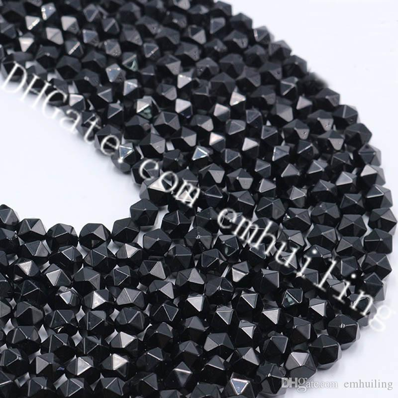 10 Strands Wholesale 6-12mm Newest Star Faceted Natural Onyx Loose Beads Diamond Cut Black Agate Gemstone Nugget Beads for Handmade Jewelry