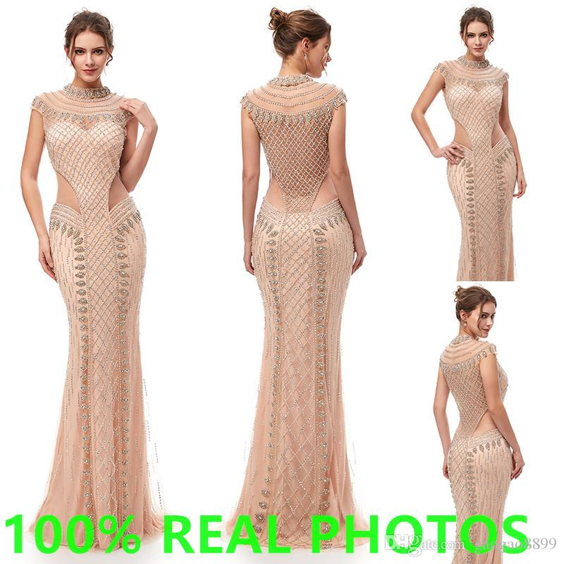 Luxury Champagne Mermaid Women/'s Wedding Party Prom Dress Celebrity Evening Gown