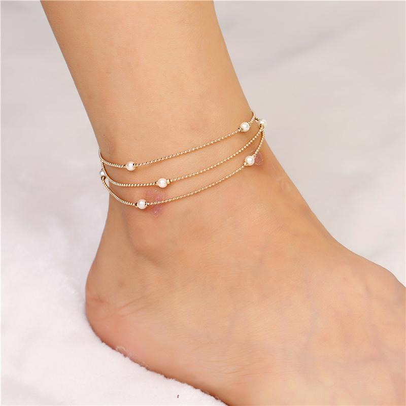 Boho Beach Dainty Cute Tiny Lucky Foot Chain Ankle Bracelet Silver Beaded Chain Anklet for Women