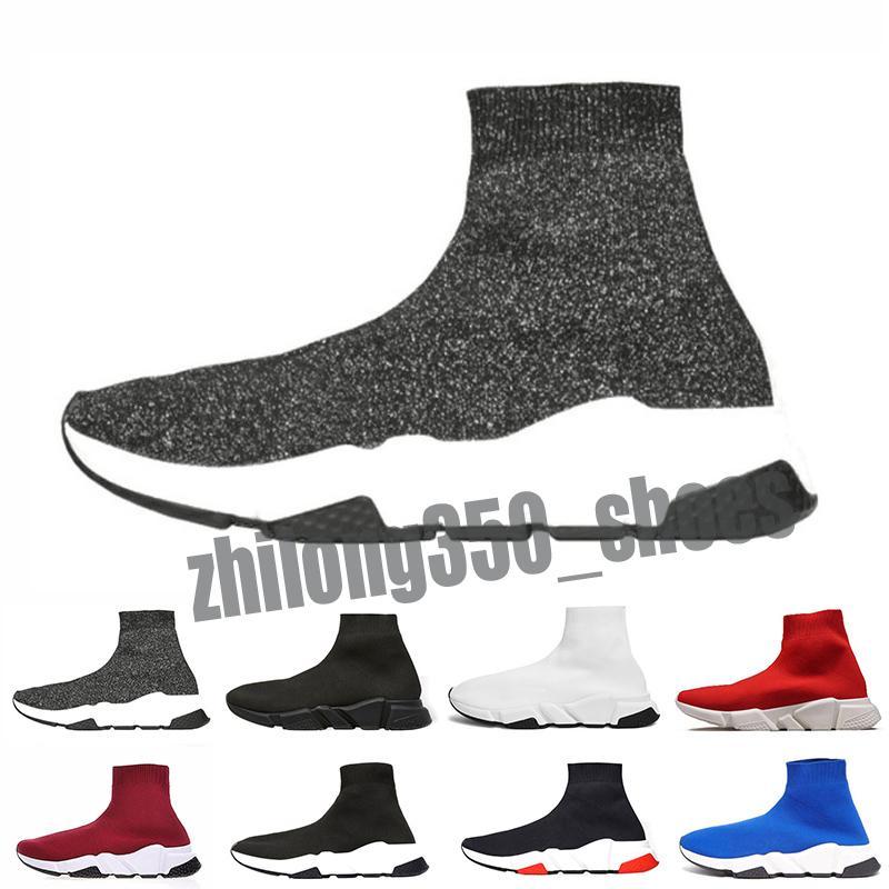 Balenciaga Speed Trainer Hot venda original de 2018 Mulheres Homens Sock sapatos de caminhada Black Red White Speed Trainer Sports Sneakers Top homens sapato casual 36-47 P4