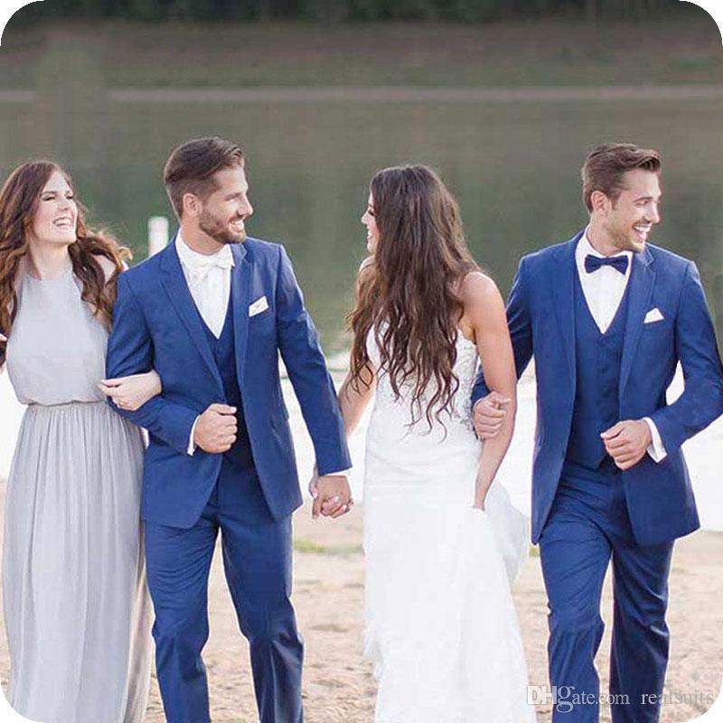 Latest Design Royal Blue Groom Tuxedos Men Suits Wedding Man Blazers Prom Party Slim Fit Groomsmen Wear Costume Homme 3Piece Coat Pants Vest