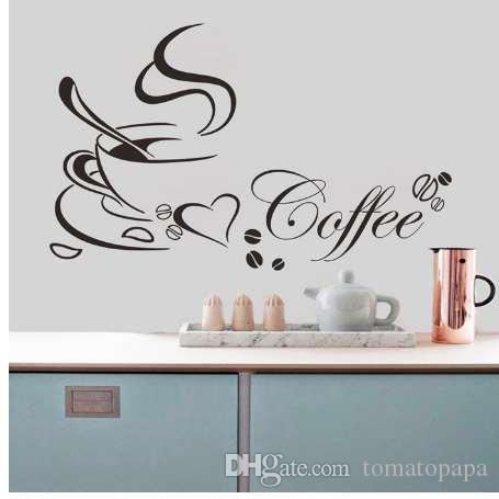 새로운 고품질 부엌 장식 편지 커피 컵 홈 데칼 예술 벽에 스티커 홈 장식 액세서리 65 * 40cm