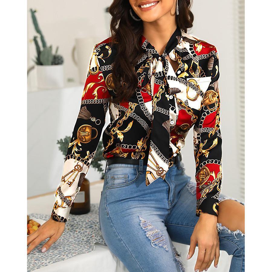 2019 женщин новой моды цепь печать рубашка с длинными рукавами случайного однобортным шифоном рубашка