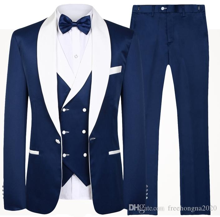 Royal Blue Hommes Costumes de mariage de design de mode réel Groomsmen blanc Châle Lapel smokings marié Hommes Tuxedo mariage / costumes de bal 3 Pièces