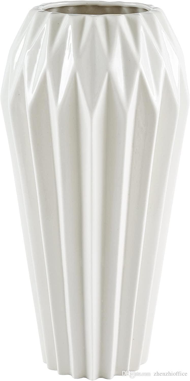 Moderna en ángulo Gres Decoración del hogar del florero - 12 pulgadas, blanca