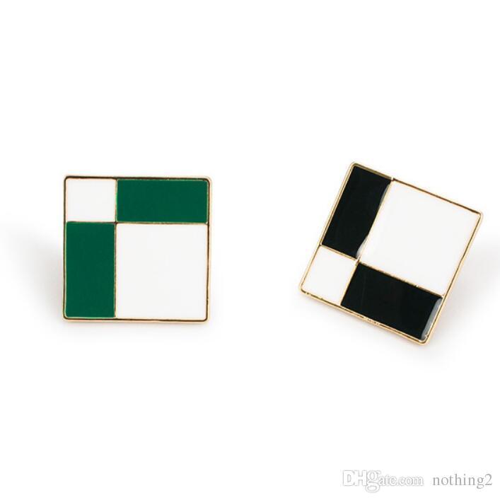 joyería pendientes cuadrados del tartán de aretes cuadrados en blanco y negro para las mujeres de la manera caliente
