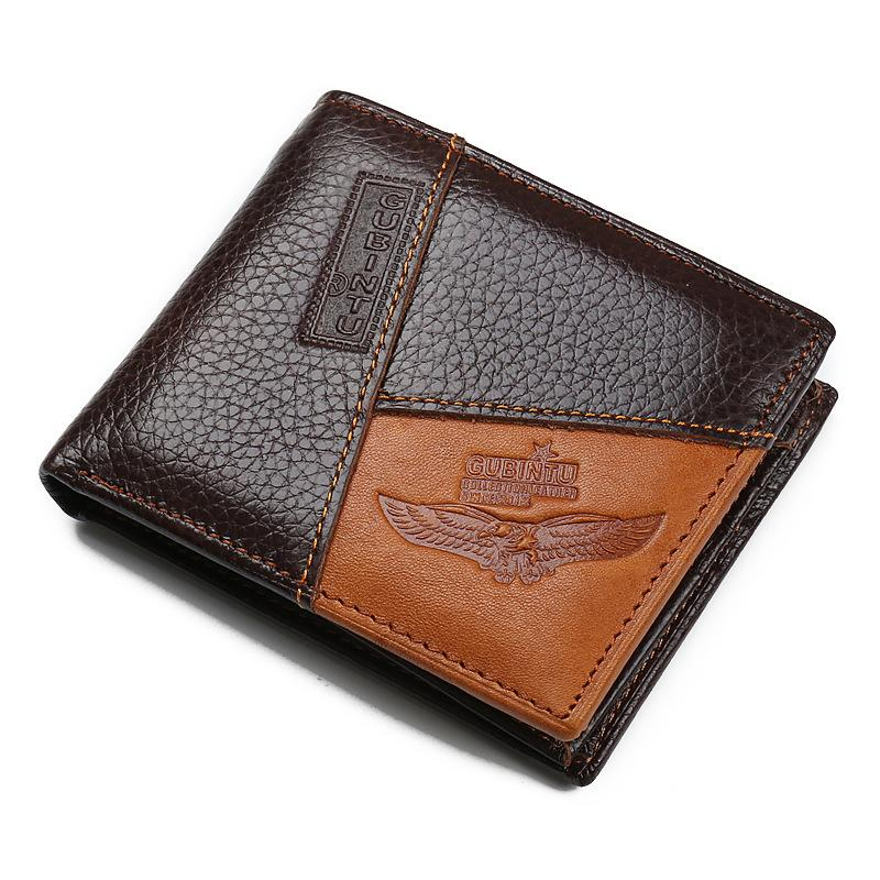 Personality Stitching Men's Wallet Creative Leather Wallets Denim Coin Purse Stitching Scalp Skin Purses Cowboy style