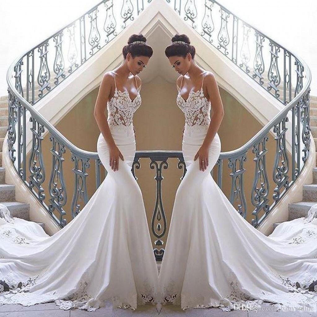 2020 Дешевые Шнурок Mermaid Beach Свадебные платья атласные кружева аппликация Поезд стреловидности Boho Свадебные платья Свадебные платья BC0190