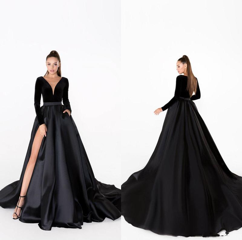 2020 Черный Вечерние платья V шеи Velvet линия развертки Поезд атласная юбка с длинным рукавом Дешевые платье Sexy High Раздельное формальный повод мантий