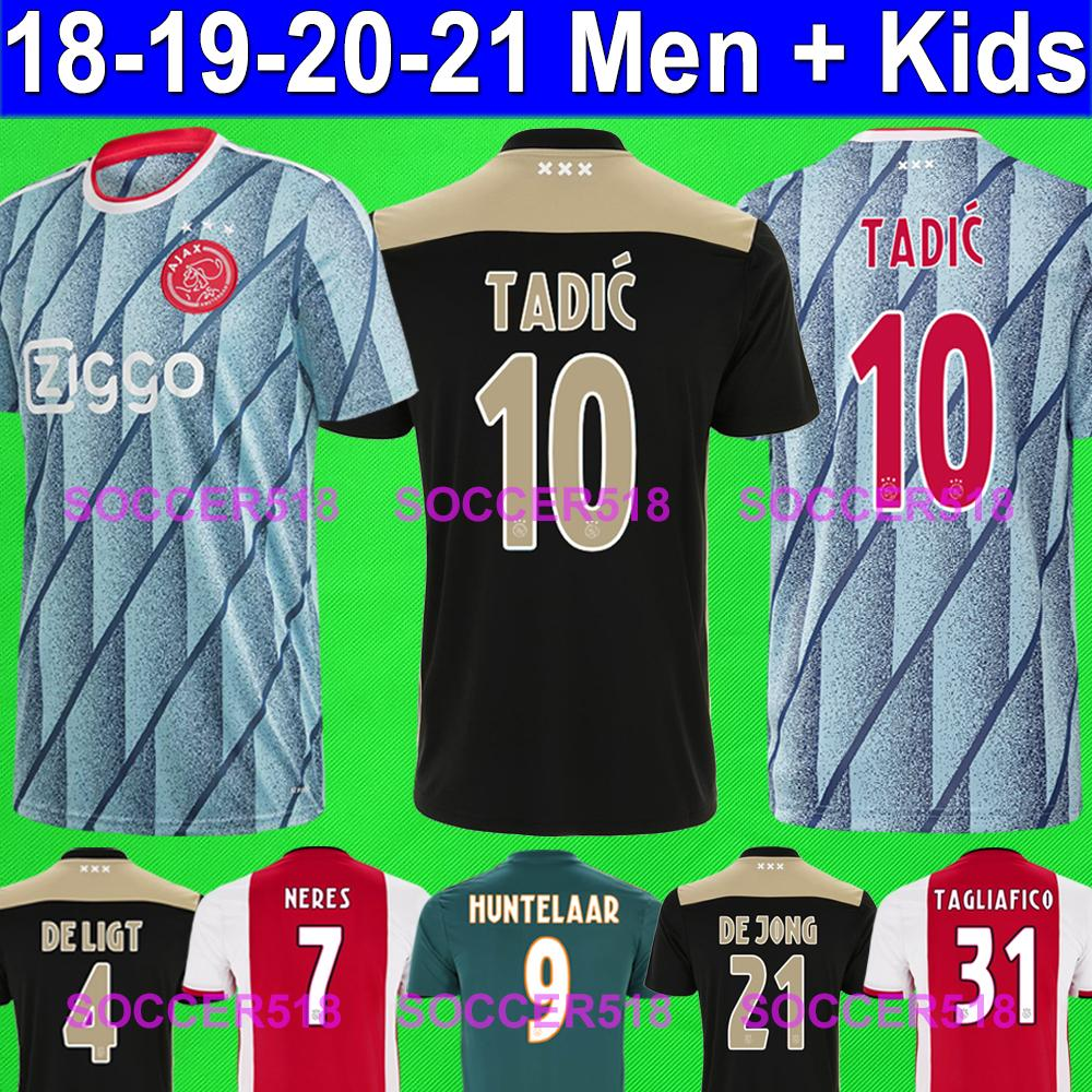 Ajax AFC DE JONG TADIĆ ZIYECH DE LIGT NERES CRUYFF SCHÖNE DOLBERG Amsterdam VAN DE BEEK 2019 maglie calcio rosso casa NERES TADIC DE LIGT via magliette da calcio nere ZIYECH DOLBERG maillots de foot