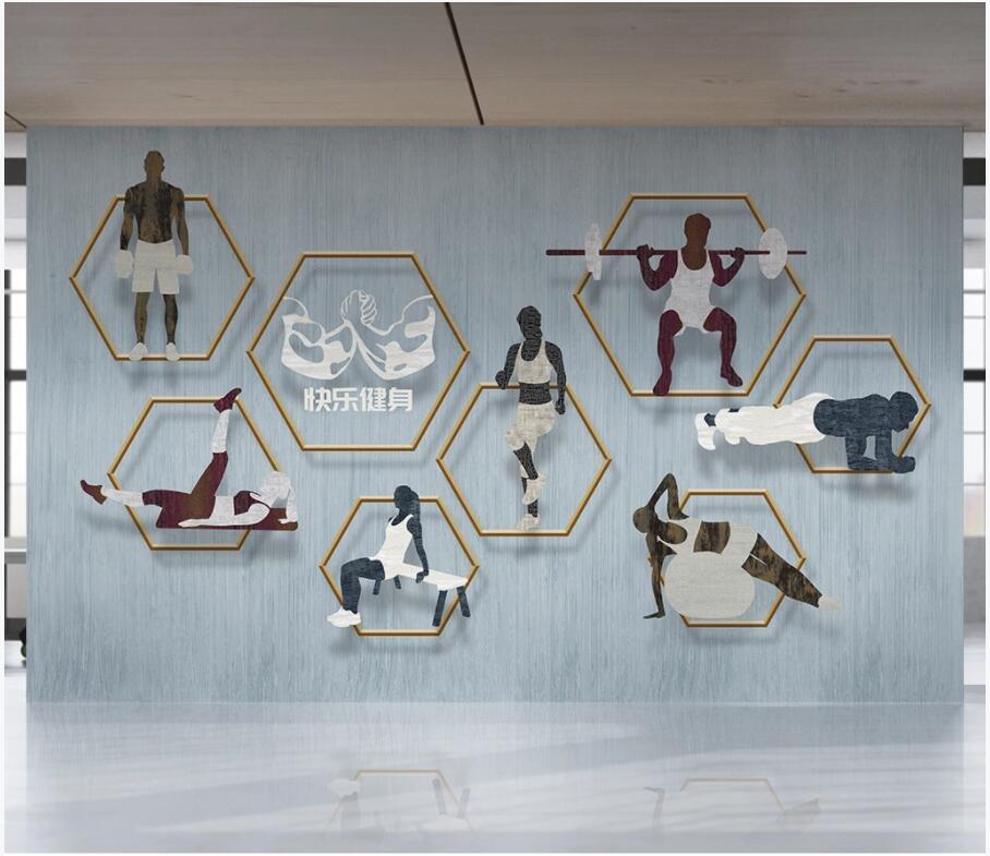 WDBH 3d carta da parati fotografici personalizzati minimalista moderno attrezzature Palestra Sala fitness azienda di arredamento murali 3d Tappezzeria per le pareti 3 d