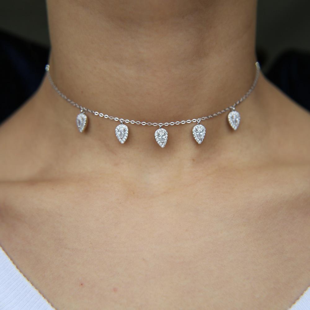 Collier-charme en gros 100% 925 charme goutte d'eau en argent sterling diamant étincelle bing cadeau de mariage birdal bijoux fine