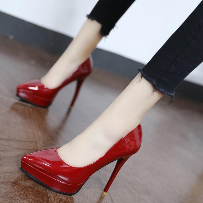 Zapatos rojos de tacón de la boda la novia del nuevo llegada 2019 mujeres altos zapatos de vestir de las mujeres Negro Bigtree Zapatos Mujer Tacon