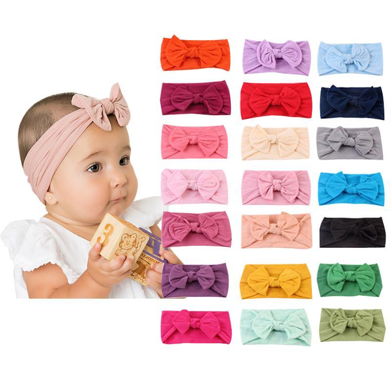 Bambino Solid fasce 22 colori Bohos Hairband Infant la fascia dei capelli delle ragazze dei capretti fascia elastica di nylon accessori dei capelli del bambino del bambino 060.514