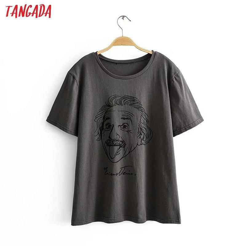 Tangada women oversized character print gray cotton T shirt short sleeve 2020 summer tees ladies casual top 2R05 Y200623