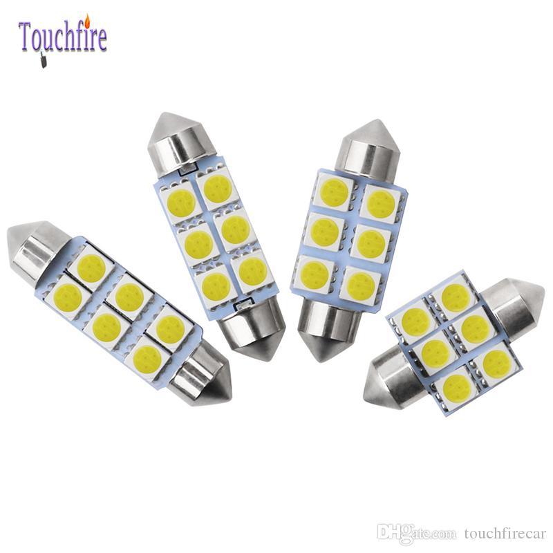 Ampoule 100pcsLED 12V feston 31mm 36mm 39mm 41mm C5W C10W lampe de lecture voiture Intérieur plaque d'immatriculation Lumière 5050SMD blanc 6000K