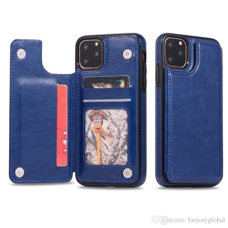 1pc nuovo arrivo creativo raccoglitore dell'unità di elaborazione di cuoio del telefono la copertura di caso con slot per schede staffa del basamento TPU per iPhone 11 PRO MAX