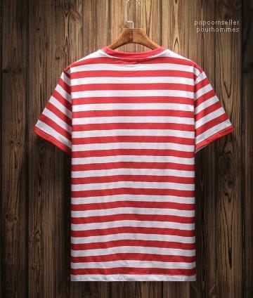 Bordado de la manera diseñador camisetas de manga corta Tops Ropa para hombre Ropa raya de los pantalones vaqueros para hombre rayada camisetas del verano
