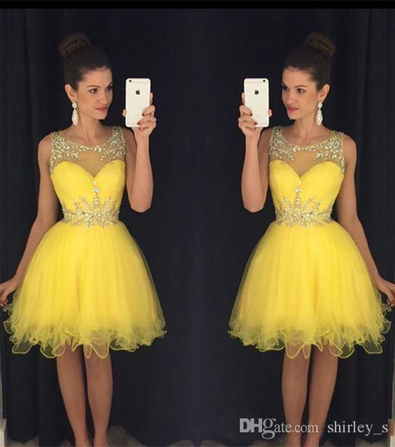 Sparkle Short Yellow Prom Dresses 2019 A Line Sheer Neck Crystal Beaded Knee Length Homecoming Dress Party Gowns