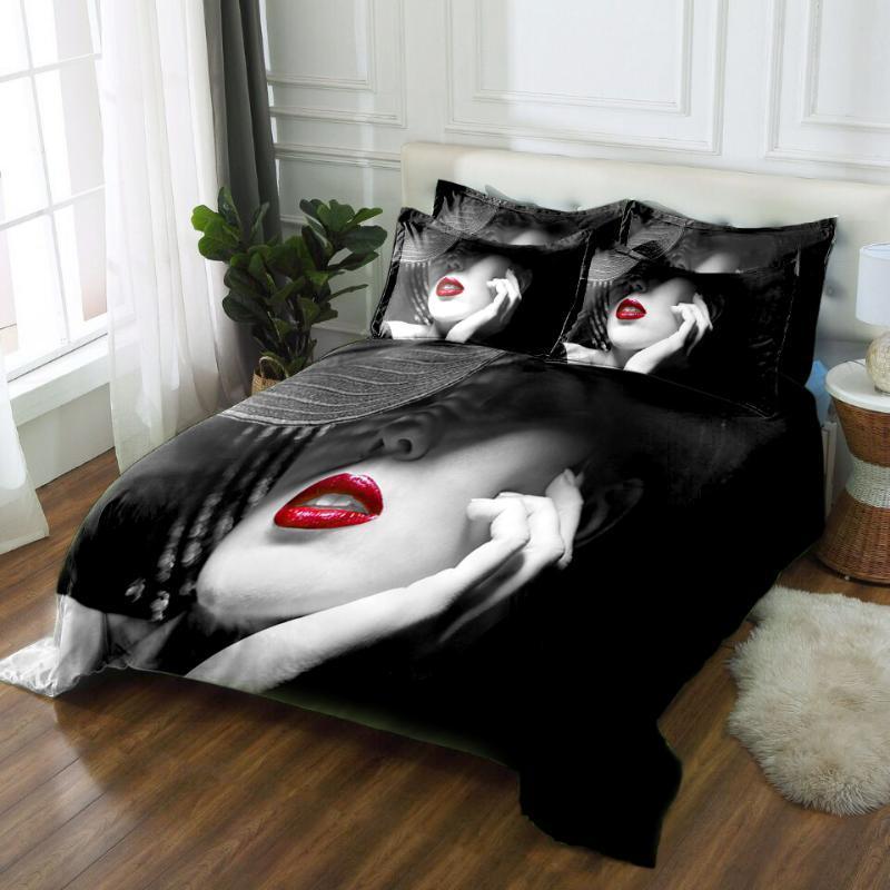 Постельное белье пододеяльник набор сексуальные красные губы красота шаблон свадьба двойной комплект постельных принадлежностей мягкое одеяло чехол наволочка 3шт кровать