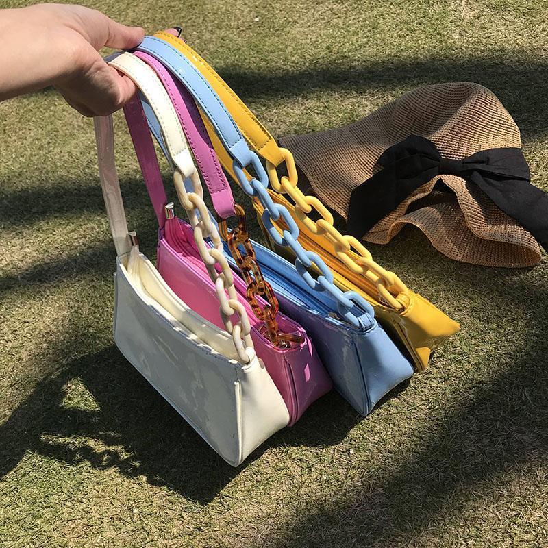Feste Acryl Straps Frauen Handachsel Paket 2020 neue PU-Texturqualität Designer Schulter-Umhängetasche Tasche