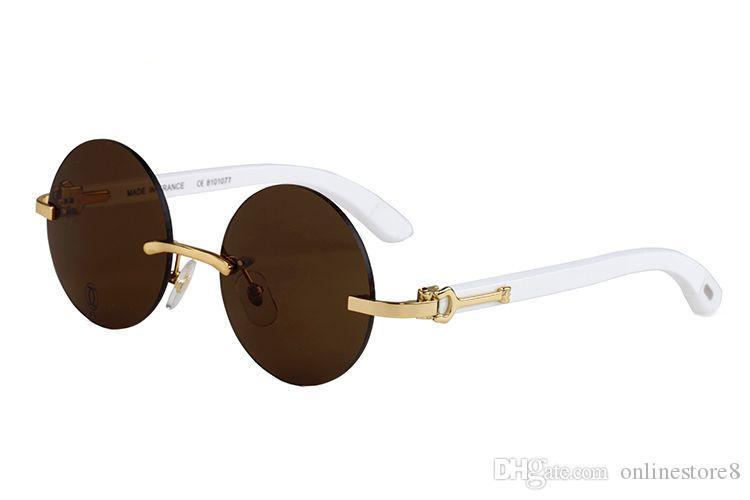 Nuovo arrivo Francia occhiali da sole di marca per uomo donna bianco corno bufalo occhiali senza montatura rotondo occhiali da sole di design in legno di bambù con astuccio