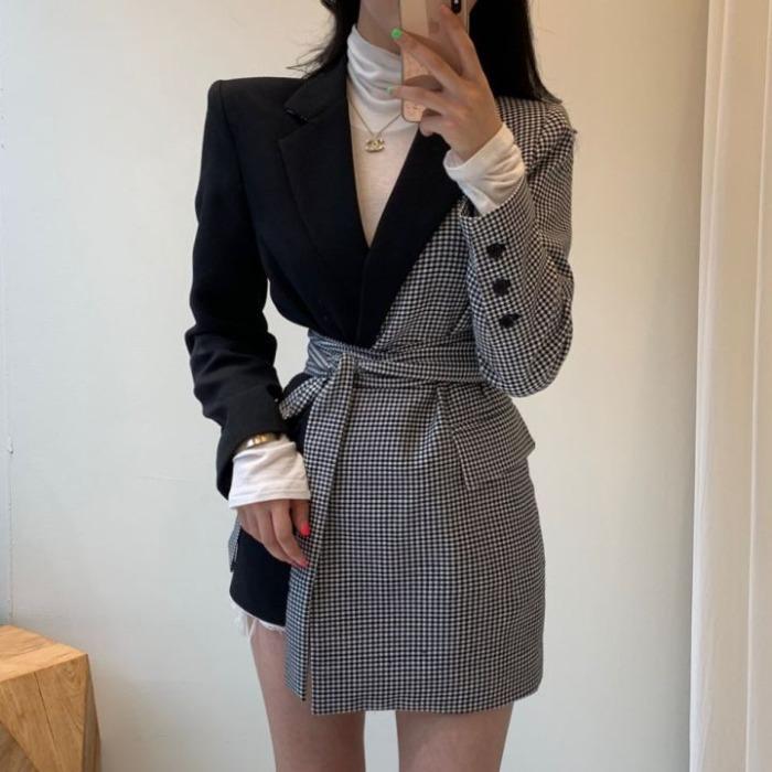 Corrispondenza Vintage rappezzatura del plaid Donne Blazer manica lunga primavera irregolare Donne Giacche cappotto con cinghie Vintage Cappotti Suit