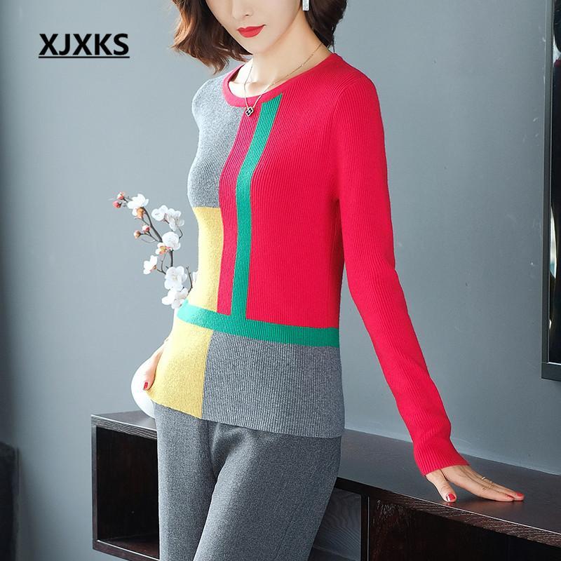 XJXKS Splice Magro confortáveis caxemira malha camisola mulheres pullover 2019 outono e inverno nova camisola das mulheres de alta qualidade
