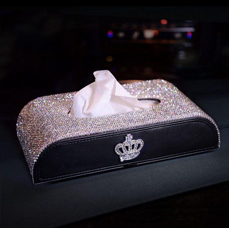 자동차 조직 상자 블링 블링 모조 다이아몬드 우아한 여자 스타일 2020 크리스마스 선물 브랜드 조직 내구성 공예 자동차 인테리어 액세서리