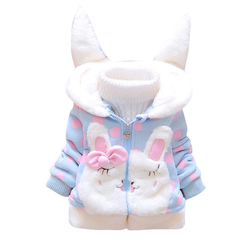 Moda inverno giacche bambino bambini della neonata in pile caldo di spessore orecchie di coniglio cappotto con cappuccio inverno outwear vestiti delle ragazze