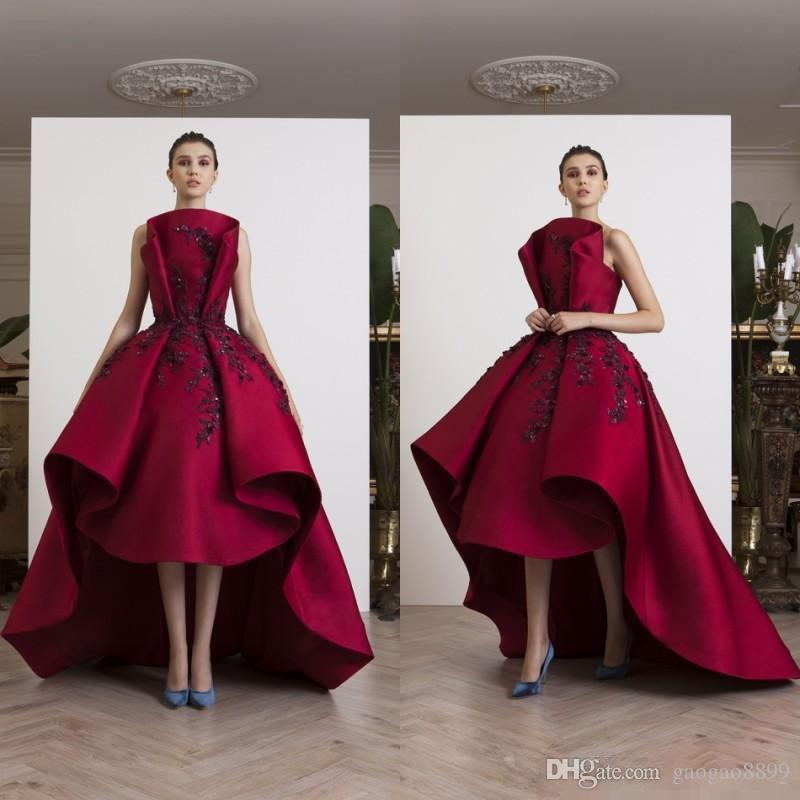 2020 Sexy dark Red High Low Prom Dresses Lace Appliqued Dresses Evening Wear Satin Beaded Plus Size Formal Long Party Dresses Custom Made
