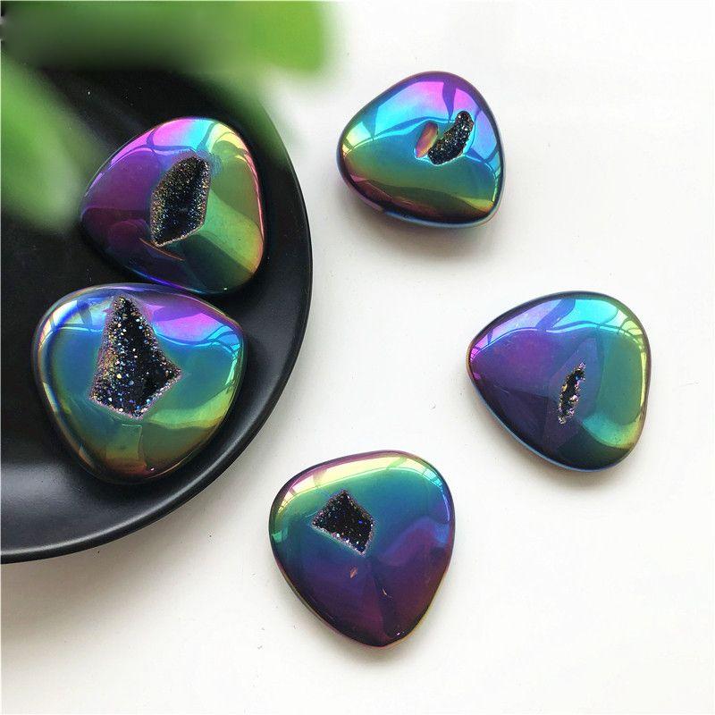 Natural de cristal de piedra ágata Revestimiento del agujero en forma de corazón de cristal hecho a mano de la decoración del hogar DIY del corazón Material de piedra Adornos