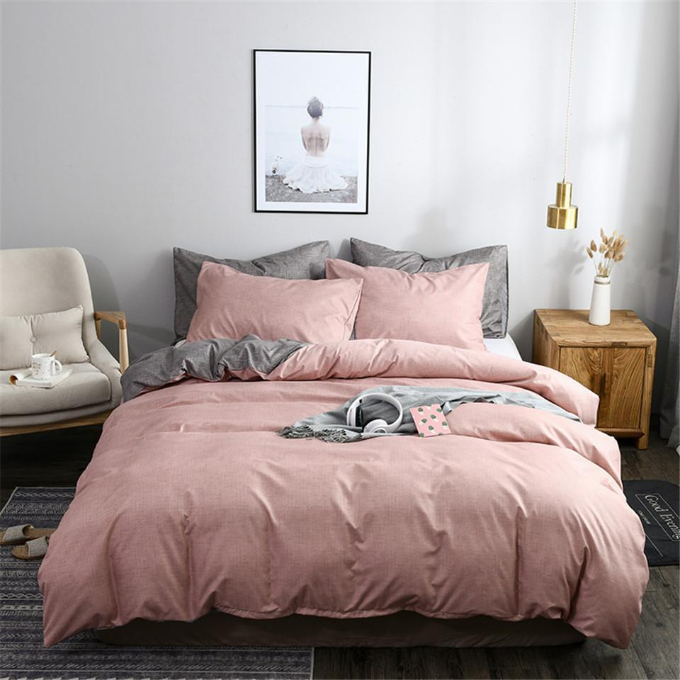 37Duvet Cover Sets Pink And GreyPrinted Plain Color Bedding Set Single Solid King Size Comforter Cover Pillowcase