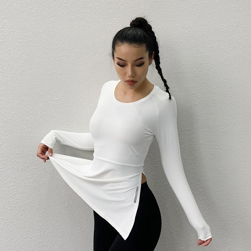 Yoga Outfits Womens Fitness Clothes Sports Shirt Loose Women Short-sleeved Split T-shirt Breathable Quick-drying Female Summer Tops