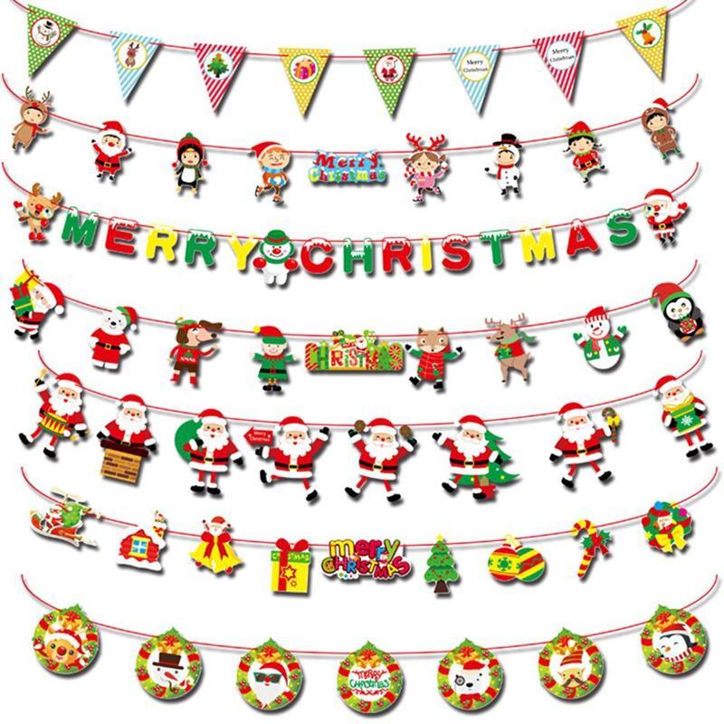 Noel Dekor Bayrağı DIY Kağıt Noel Bayraklar Noel Baba Bunting Afişler Merry Christmas Ev Mağaza Market Odası Dekor