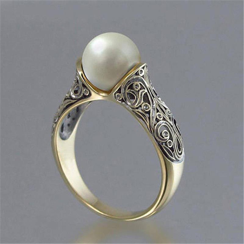 고대의 14K 골드 도금 진주 반지 여자 로얄 우아한 보석 기념일 선물 미국 크기 6 7 8 9 10