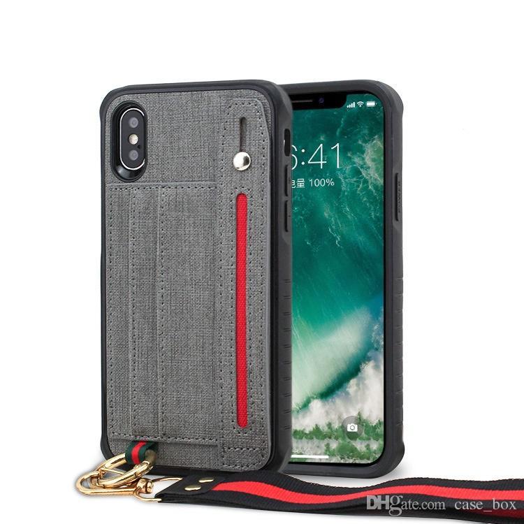 Hibrid Kart Yuvaları Kılıf iphone 6 6 s 7 8 Artı X Xs Max XR İpi Askı ile Kapak
