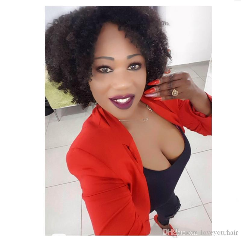 мода красивый короткий боб кудрявый кудрявый парик бразильские волосы моделирование человеческих волос афро кудрявый парик для женщин