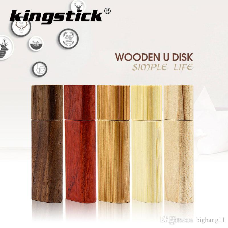Gute 5COLORS Creative Bambus und Holz U-Disk Quadrat USB 2.0 4 GB 8 GB USB-Stick 16 GB 32 GB USB-Stick falsh 64 GB 128 GB USB-Flash-Memory-Stick