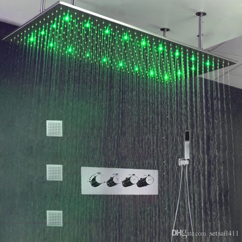 Luxo Banheiro Teto LEVOU Chuva Chuveiro Set 50 * 100 cm Escovado Grande Cabeça de Chuveiro de Chuva 3 Maneiras Termostática Misturador Do Chuveiro de Bronze