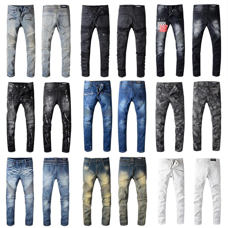 Balmain Mens jeans Slim Fit Ripped Jeans Men Hi-Street Mens Distressed Denim Joggers Knee Holes Washed Destroyed 22 style color Jeans