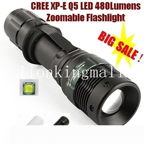 AloneFire CREE XP-E Q5 LED Zoomable llevó la linterna con la linterna portátil de la antorcha de LED para 3 x AAA o 1 x 18650