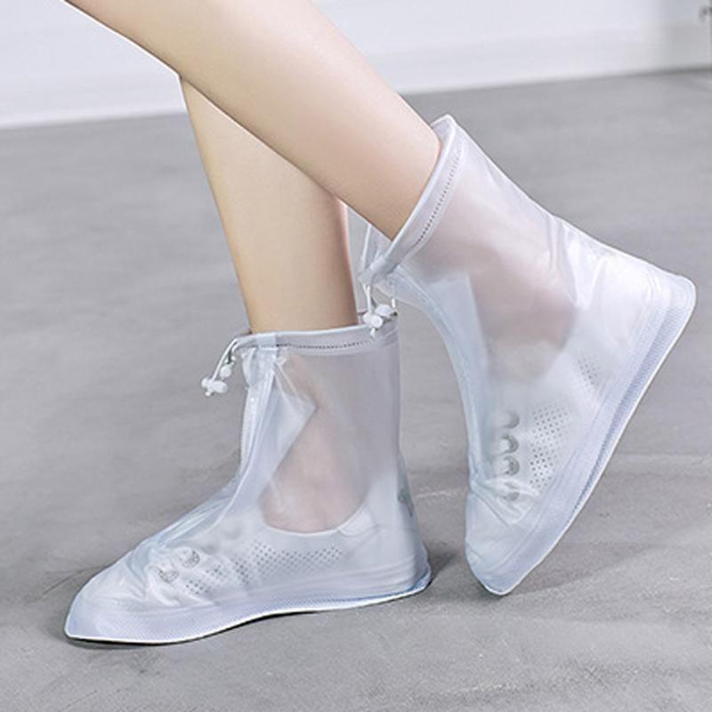 1 par Protector impermeable zapatos arranque cubierta Unisex cremallera lluvia zapato cubre alto-Top antideslizante lluvia zapatos casos #3