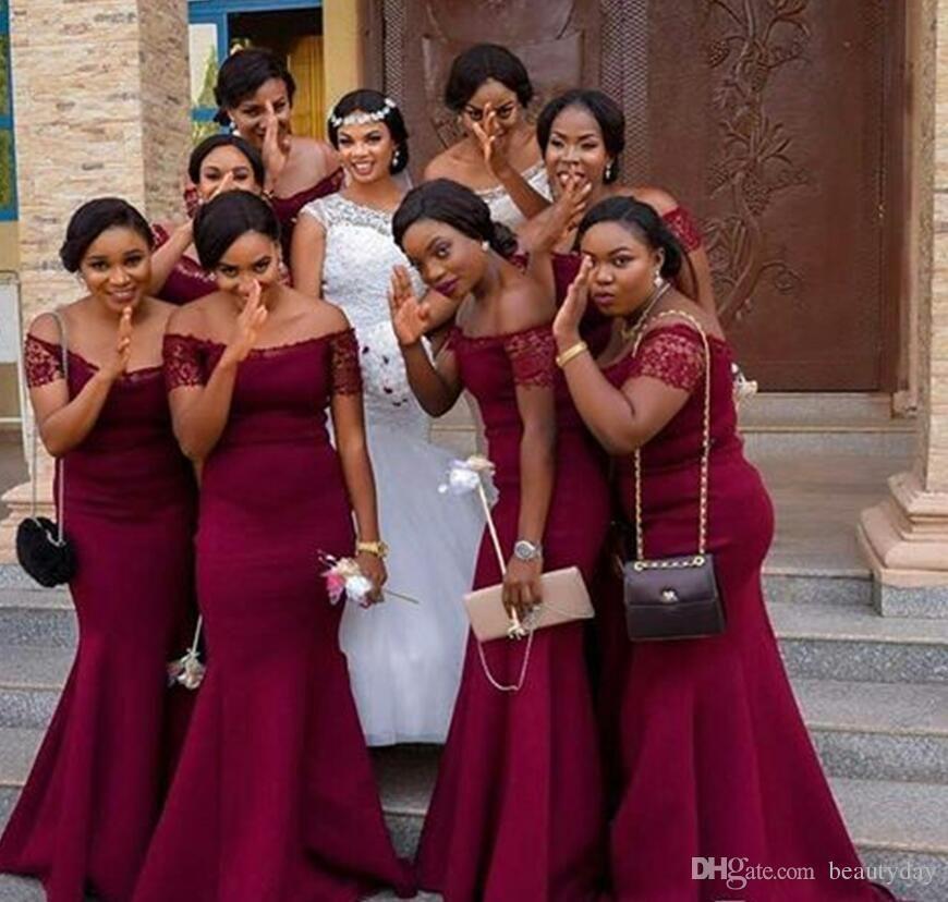 Per gli abiti da damigella della nigeriana 2019 Abiti da cerimonia per matrimoni sulla spiaggia per la festa di nozze in spiaggia